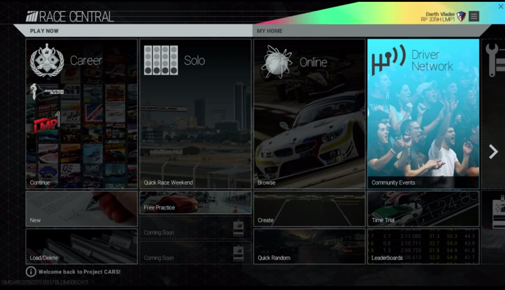 Project Cars Menu