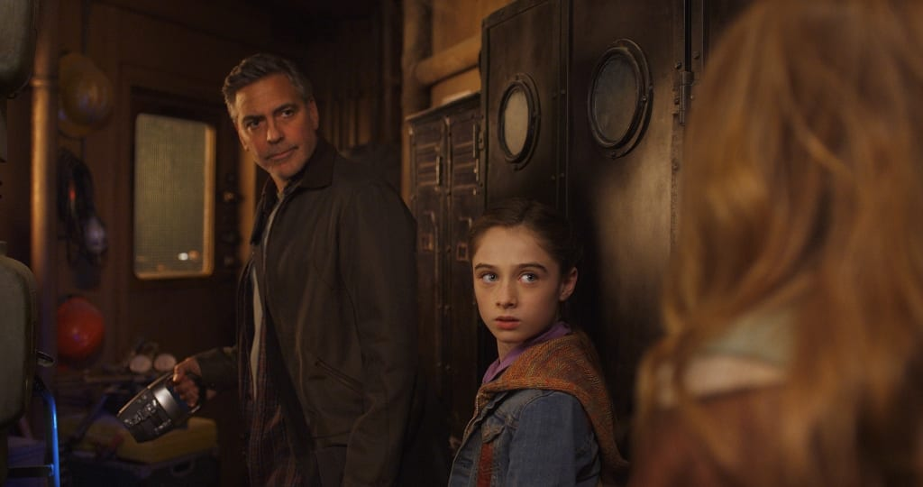 Disney's TOMORROWLAND L to R: Frank (George Clooney) & Athena (Raffey Cassidy) Ph: Film Frame ©Disney 2015