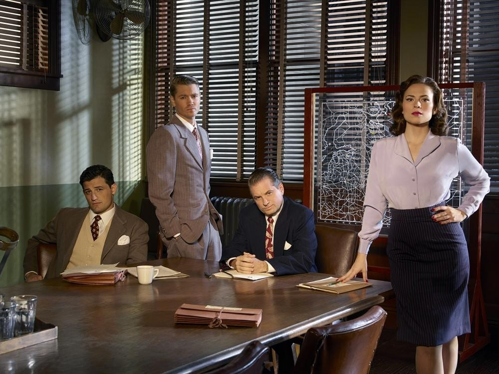 "MARVEL'S AGENT CARTER - ABC's ""Marvel's Agent Carter"" stars Enver Gjokaj as Agent Daniel Sousa, Chad Michael Murray as Agent Jack Thompson, Shea Whigham as Chief Roger Dooley and Hayley Atwell as Agent Peggy Carter. (ABC/Bob D'Amico)"