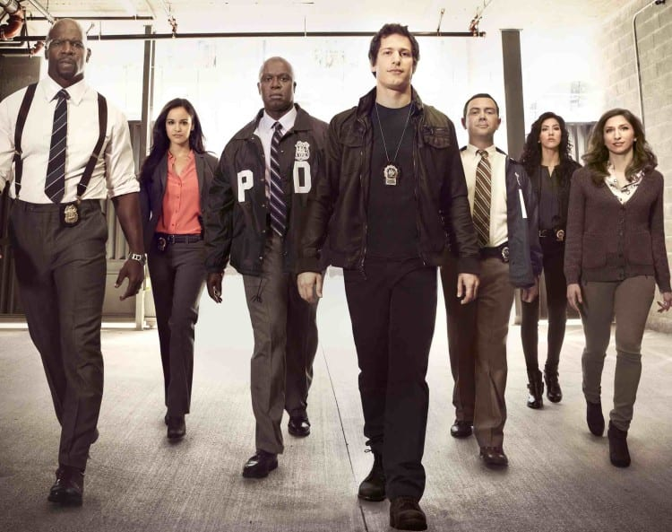 BROOKLYN NINE-NINE: Cast L-R: Terry Crews, Melissa Fumero, Andre Braugher, Andy Samberg, Joe Lo Truglio, Stephanie Beatriz and Chelsea Peretti. BROOKLYN NINE-NINE premieres Tuesday, Sept. 17 (8:30-9:00 PM ET/PT) on FOX. ©2013 Fox Broadcasting Co. Cr: FOX