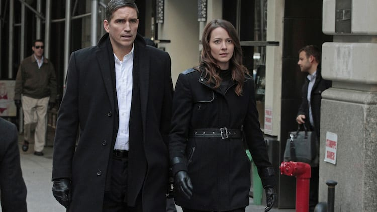 """A House Divided"" -- When an unknown entity prevents The Machine from seeing the full picture of an impending catastrophic event, it sends the team five separate numbers to help them piece together the bigger picture, on PERSON OF INTEREST, Tuesday, May 6 (10:01-11:00 PM ET/PT) on the CBS Television Network. Pictured left to right: Jim Caviezel and Amy Acker Photo: Giovanni Rufino/Warner Bros. Entertainment Inc. © 2014 WBEI. All rights reserved."