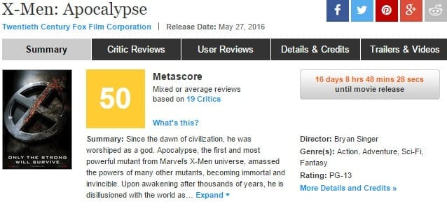 metacritic x-men apocalypse