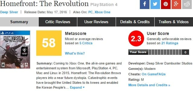 Homefront: The Revolution metacritic