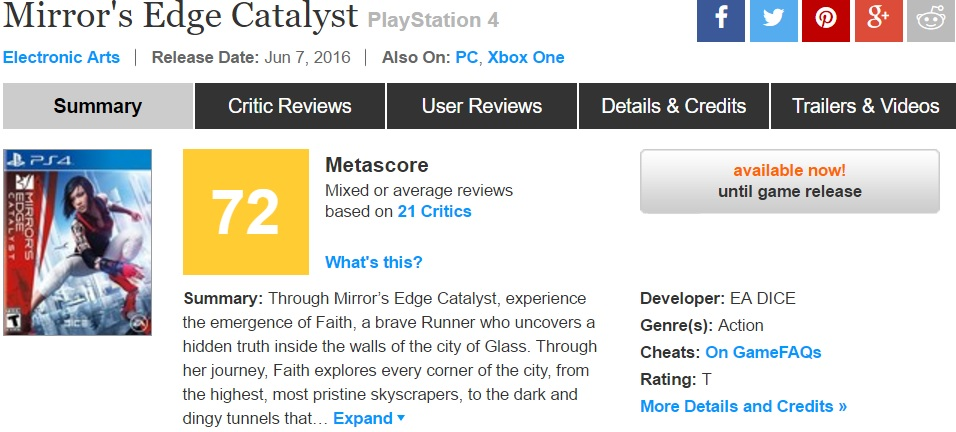 Mirror's Edge Catalyst Metacritic