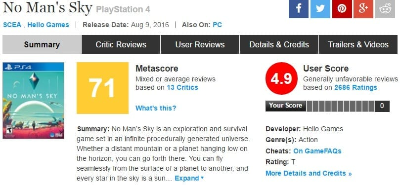 No Man's Sky Metacritic