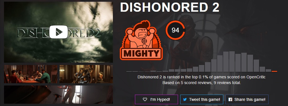 Dishonored 2 OpenCritic